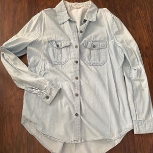 Denim button up top